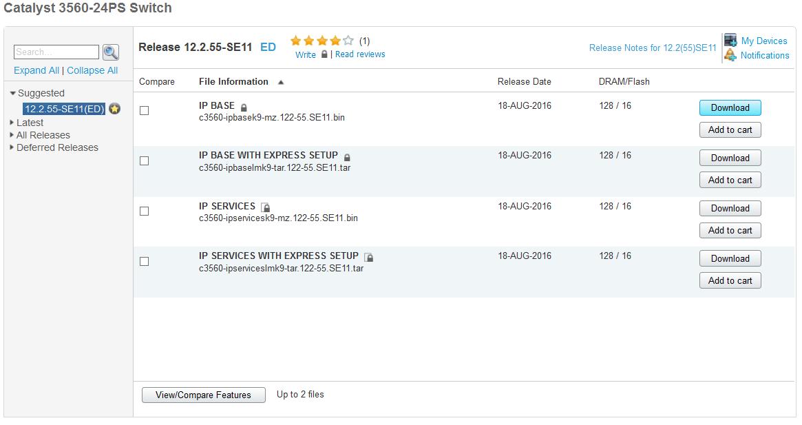 Téléchargement de l'IOS Sfotware Cisco pour le switch