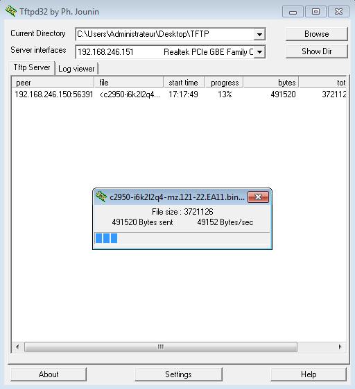 Copie de la nouvelle image IOS depuis le serveur TFTPD32