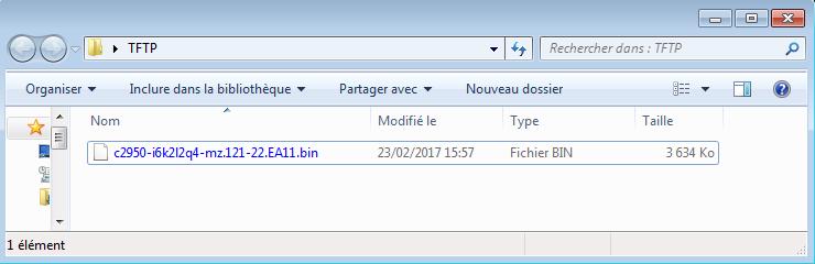 Copie de l'image IOS dans le dossier du serveur TFTP