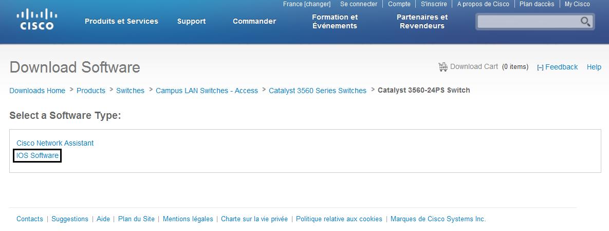 Téléchargement de l'image IOS de l'équipement Cisco