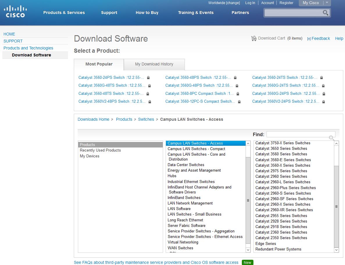 Liste des modèles d'équipement Cisco