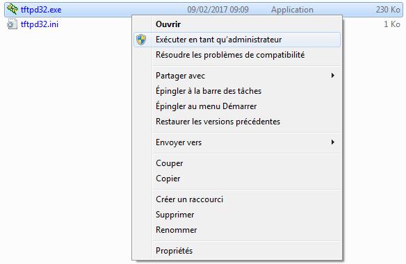 Ouverture du logiciel TFTPD32 en tant qu'administrateur