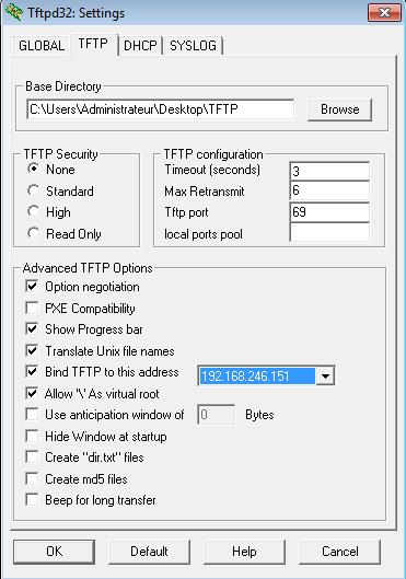 Configuration du logiciel TFTPD32