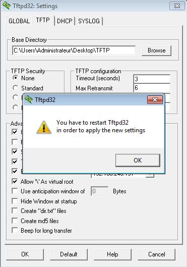 Finalisation de la configuration du logiciel TFTPD32