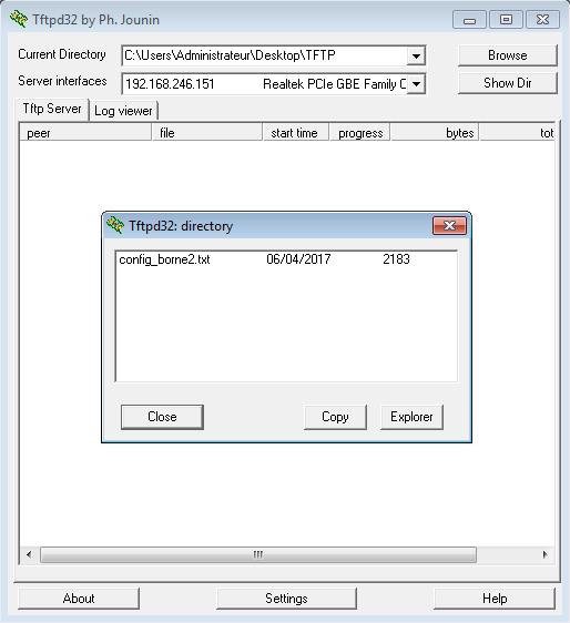 Vérification de la copie du fichier sur le serveur TFTP