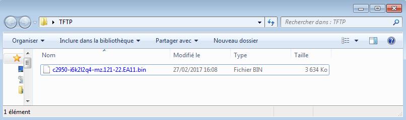 Vérification de la copie sur le serveur TFTP