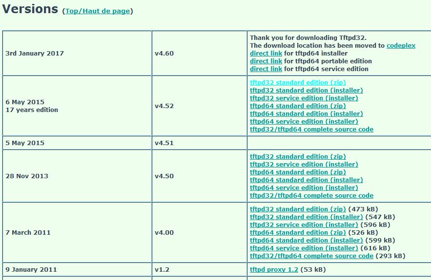 Télécharment du logiciel TFTPD32