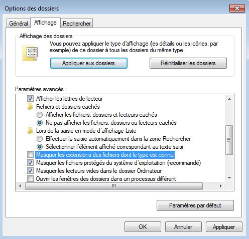 Affichage de l'extension des fichiers