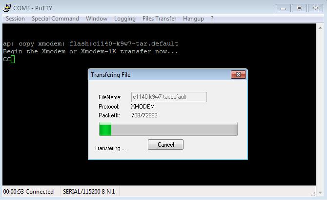 Transfert du fichier .tar à la borne WiFi 3